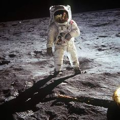 """First Steps on the Moon, 1969  American astronaut Edwin """"Buzz"""" Aldrin walking on the moon on July 20, 1969 during the Apollo 11 mission."""