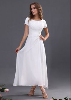 2015 New Arrival Short Sleeves Square White chiffon Ankle Length Mother of the Bride Dress / Floor length is Available DIB120092