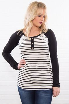 db736a5dd2620 Just Right Striped Lace and Button Top In Black White Filly Flair, Plus  Size Womens