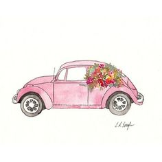 Pink Volkswagen Beetle, Original Watercolor and Ink Painting, car illustration, flowers, pink Auto Illustration, Illustration Blume, Watercolor Illustration, Illustration Flower, Watercolor Water, Watercolor Flowers, Watercolor Paintings, Floral Paintings, Painting Flowers