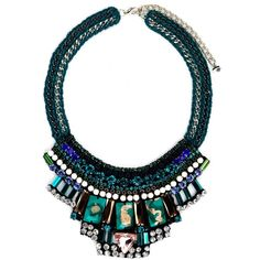 Nocturne Reem Necklace (£68) ❤ liked on Polyvore featuring jewelry, necklaces, accessories, collares, jewels, turquoise, beaded jewelry, bead necklace, beaded collar necklace and blue bead necklace