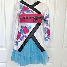 3d95c72e13454 Girls Cutie Kimono Tulle Skirt 2 pc Pop Japanese M 7 8 Geisha Anime Costume  #