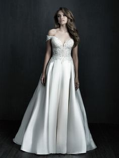 Allure Couture ballgown is an elegant dress made in a shinny Mikado fabric topped with stunning beaded lace appliques that contrast beautifully on the fabric. Magnificent for brides that want the perfect regal look. Bridal And Formal, Bridal Wedding Dresses, Bridesmaid Dresses, Prom Dresses, Wedding Hair, Wedding Stuff, Allure Couture, Pageant Gowns, Dress Collection