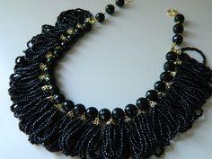 Declaración negro Onix Collar collar negro grueso por SakuraPink
