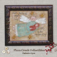 Christmas Nativity Angel Primitive Stitchery Embroidery Pattern #312