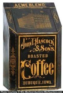 Very early heavy tin litho slant front counter top coffee bin for JOHN HANCOCK…