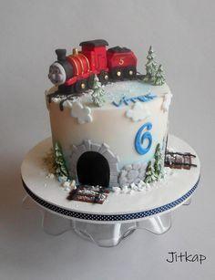 James, friend of Thomas - cake by Jitkap Thomas Birthday Cakes, Thomas Cakes, Thomas The Train Birthday Party, Trains Birthday Party, Baby Birthday Cakes, Birthday Cookies, Cake Lettering, Christmas Train, Churros