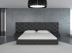 black leather modern bedroom set with crystals and low profile