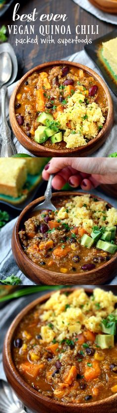 Best ever vegan quinoa chili – the perfect bowl of comfort! A mouthwatering blend of flavors in the best ever vegan quinoa chili – the perfect bowl of comfort and yumminess that you can enjoy guilt-free! Vegan Quinoa Recipes, Vegan Soups, Vegan Dishes, Veggie Recipes, Whole Food Recipes, Vegetarian Recipes, Cooking Recipes, Healthy Recipes, Best Vegan Meals