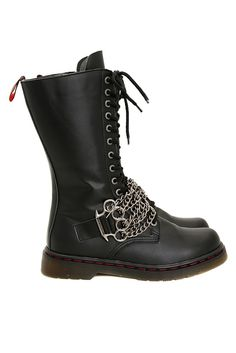 Demonia Lace-Up Brass Knuckle Chains Strap Boots
