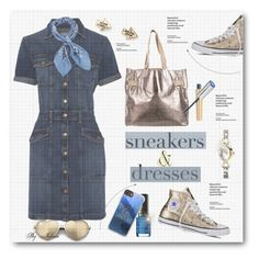 """""""Sporty Chic: Sneakers and Dresses"""" by jelenalazarevicpo ❤ liked on Polyvore featuring Current/Elliott, Converse, Christian Louboutin, Casetify, Manipuri, Stila, Aéropostale, Sekonda and Wildfox"""