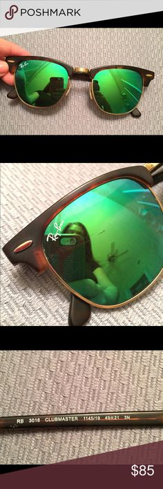 Rayban Clubmaster green sunglasses These are the green flash lenses from Rayban. 1 small scratch on one of the lenses but not too noticeable. These are AUTHENTIC but I do not have a box or case to go along with these. Originally bought from Nordstroms for $160 Ray-Ban Accessories Sunglasses