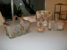 baskets, house and pincushion