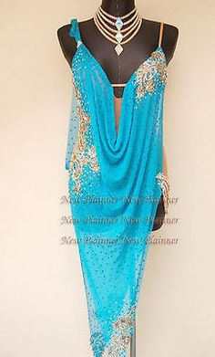 Women Ballroom Latin Rhythm Rumba Cha Salsa Dance Dress US 8 UK 10 Blue