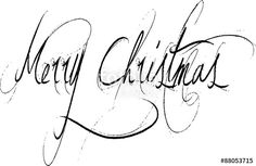 Vettoriale: Merry Christmas writen in English
