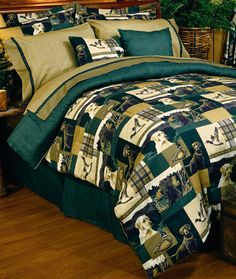Blue Ridge Trading Dogs And Ducks Queen Comforter Bedding Set Full Comforter Sets, Bedding Sets, King Comforter, Bedding Decor, Bed Sets, Rustic Bedding, Bedroom Rustic, Thing 1, Lodge Decor
