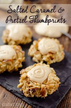 Salted Caramel Pretzel Thumbprint Cookies are a fantastic cookie recipe that will impress your guests with a dense, but moist cookie rolled in crunchy pretzels and topped with rich salted caramel frosting!