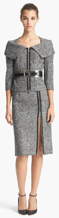 "Michael Kors Origami Collar Tweed Jacket - Worn by Michelle Obama to the SOTU Address, and Julianna Margolies on ""The Good Wife"""