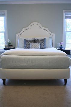 DIY upholstered headboard and bed frame.