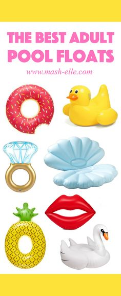 I need one of each, please! | Fashion, beauty and lifestyle blogger Mash Elle rounds up the best adult pool floats on the Internet! This pool float guide explains where to get the best affordable pool floats for pool parties, beach getaways, vacations etc! Click here to see pool floats of all kinds including: a donut, pelican, pineapple, sea shell, diamond ring, ballon animal, rainbow, american flag, lobster, smarties, tootsie roll, pizza slice, popcorn, cactus and more!