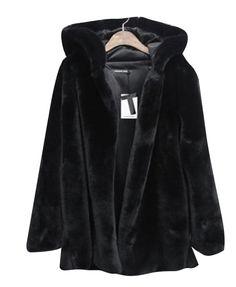 Black Imitated Fur Hooded Coat