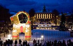 The Giant Yule Goat, of straw, tradition in Gävle city, central Sweden Sweden Christmas, Christmas Scenery, Christmas Town, Christmas Travel, Scandinavian Christmas, Christmas Holidays, Xmas, Dubrovnik, Swedish Christmas Traditions