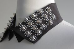 Black Collar Necklace Peter Pan Collar Necklace Metal by soStyle, $29.00  Love me some spikes! They make you feel like a rock star!