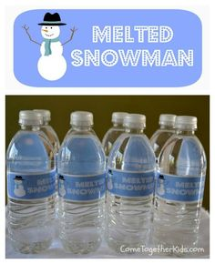 Going to use this idea for bottled water...but use snowflake or white duct tape and write melted snow with Blue permanent marker....paper will just get all wet...unless I do frozen white balloons. Oh the possibilities :) I crack myself up.