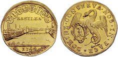 Swiss Cantons/Basel AV 5 Dukaten 1740 Basel Mint Basilisk/City View