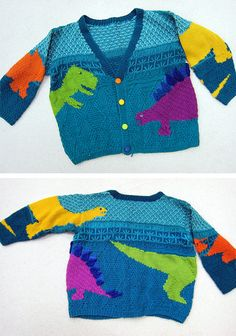 Free Knitting Pattern for Stefan's Dinosaurs Sweater – Child's cardigan with intarsia designs of tyrannosuarus rex, stegosaurus, triceratops, and apatosaurus, on a background of plant and tree texture patterns. Designed by Pat McDermott. Baby Knitting Patterns, Baby Cardigan Knitting Pattern, Jumper Patterns, Knitting For Kids, Easy Knitting, Knitting Designs, Baby Boy Cardigan, Intarsia Patterns, Knitting Toys
