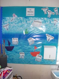 A set of colourful water display posters, perfect for your water area to reinforce key vocabulary. Fantastic for use with our other water area display resources. Preschool Displays, Classroom Displays, Sand And Water, Floating In Water, Work Activities, Interactive Activities, Sharing A Shell, Nursery Display Boards, Lighthouse Keepers Lunch