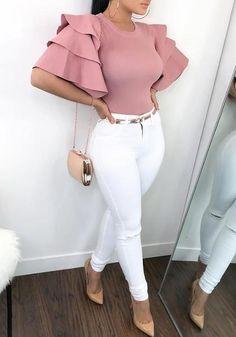 2019 New Fashion Women Stylish Pink Shirts Roundneck Ruffle Sleeve . Fashion new fashion Classy Outfits, Sexy Outfits, Chic Outfits, Trendy Outfits, Fall Outfits, Summer Outfits, Summertime Outfits, Looks Kim Kardashian, Vetement Fashion