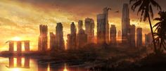Incredible Concept Art by Jonas De Ro: Jonas is a young digital artist from Belgium. His skills ranges from concept art, matte painting, to photography Post Apocalyptic City, Post Apocalyptic Fiction, City Background, Background Images, Skyline, Matte Painting, City Painting, Fantasy Hd, Forest Sunset