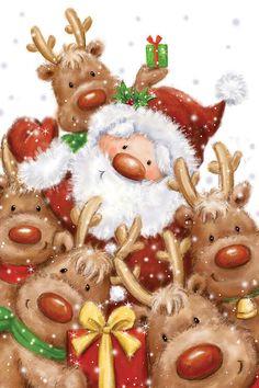 Makiko-santa and reindeers Christmas Scenes, Noel Christmas, Christmas Images, Vintage Christmas, Christmas Crafts, Christmas Decorations, Xmas, Animated Christmas Pictures, Christmas Costumes