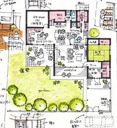 teak405 Japanese House, Story House, Modern Interior Design, House Plans, Floor Plans, Sketches, Layout, House Design, Flooring