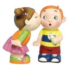 Amazon.com: Westland Giftware Mwah Magnetic Kissing Kids Salt and Pepper Shaker Set, 3-1/2-Inch: Kitchen & Dining