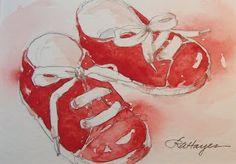 Watercolor Paintings by RoseAnn Hayes: Red tennis shoes
