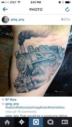 Body Art Tattoos, Cool Tattoos, Tatoos, Train Tattoo, Train Art, Face Paintings, Steam Locomotive, Tattoo Inspiration, Tatting