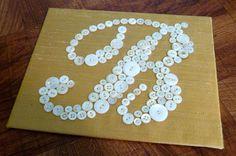 Button Monogram 8x10 Button Letters, Button Art, Button Crafts, Bedroom Ideas, Monogram, Bath, Sewing, Projects, Diy