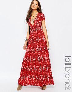 Image 1 ofGlamorous Tall Paisley Print Plunge Front Tea Dress