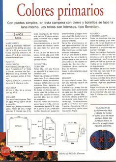 Ajuar Del Bebê N° 10-Revista Tricô Para Bebês Benetton, Lana, Words, Knitting And Crocheting, Tricot, Primary Colors, Pockets, Journals