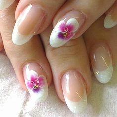 Fully sculptured french glitter with hand painted onestroke pansies