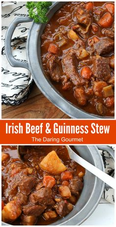 traditional authentic best irish beef guinness stew ireland pub food iconic recipe beer stout potatoes st patricks day dinner Traditional Irish Beef and Guinness Stew - The Daring Gourmet Cooker Recipes, Crockpot Recipes, Soup Recipes, Dinner Recipes, Fast Recipes, Dinner Ideas, Guinness Beef Stew, Beef Stew With Beer, Hugo Guinness