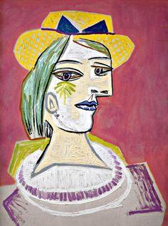 Pablo Picasso, 1938 Portrait de femme au chapeau de paille sur fond rose