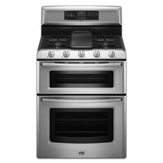 Maytag - Gemini Self-Clean Smooth-Top Double Oven Electric Range Stainless Steel - - - Home Depot Canada Double Oven Electric Range, Dual Oven, Electric Stove, New Stove, Stove Oven, Ottawa, Calgary, Ranger