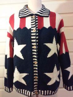 Cotton Salsa Women's All American 4th July sweater Multi-color Size XL - XXL #CottonSalsa #Cardigan