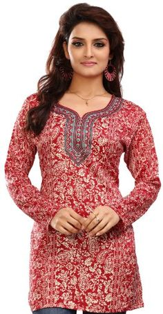28aea30e175 India Long Tunic Top Kurti Womens Printed Indian Apparel (Red, S) Maple  Clothing