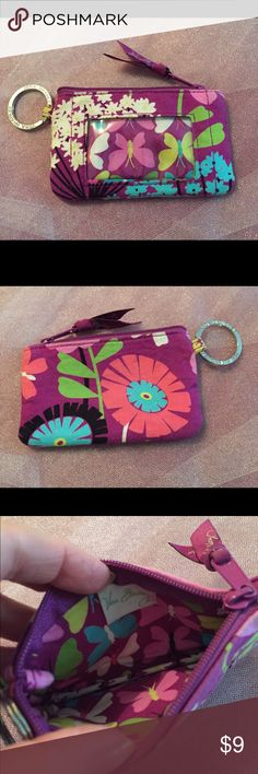 Vera Bradley This is a Vera Bradley ID & coin purse. It has a zipper to close. Machine washable & needs washing. Silver key ring attached. Lowest $ Vera Bradley Bags Clutches & Wristlets