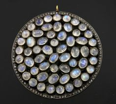 """Stunning 2.25"""" Rainbow Moonstone Set in White Topaz Fancy Cut Component, 24k Gold Vermeil over Sterling Silver 62mm , 1 Piece (RNMWTZ-02)"""