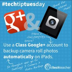 You can use a class Google+ account to backup the camera roll on photos automatically on shared or 1:1 iPads. To learn more tips like these, check out the webinar on Back to School with Google: edtechteacher.org/14fall4